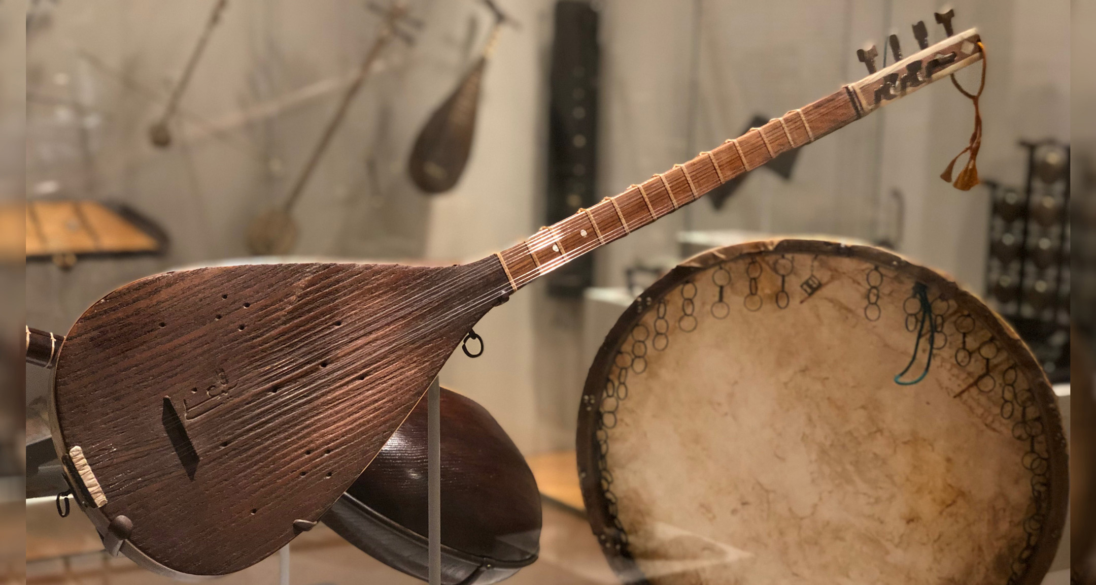 Vitrine d'instruments d'Ostad Elahi au Met