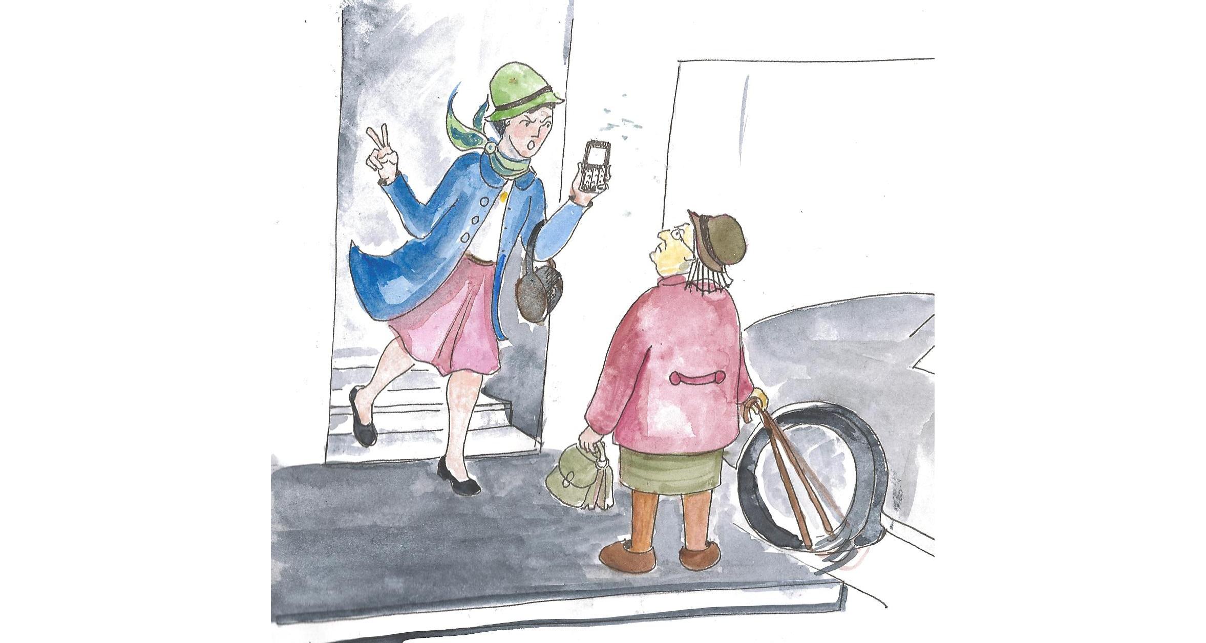 Illustration vieille dame cognant la voiture